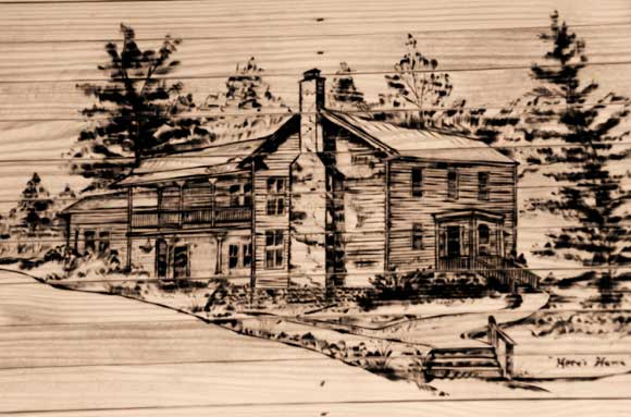 Wood Etching in Porch Swing by Ron Campbell