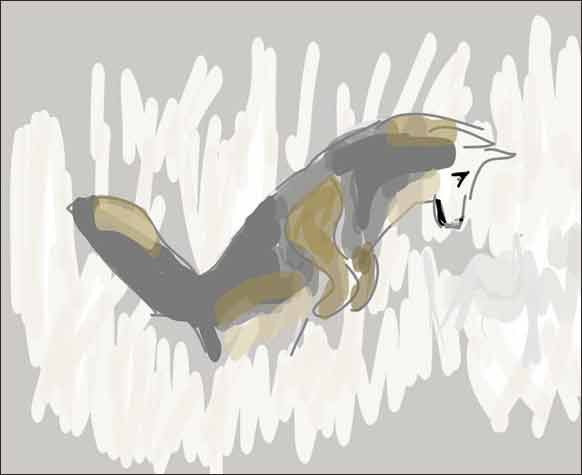 Art-like depiction of a coyote hunting by our barn