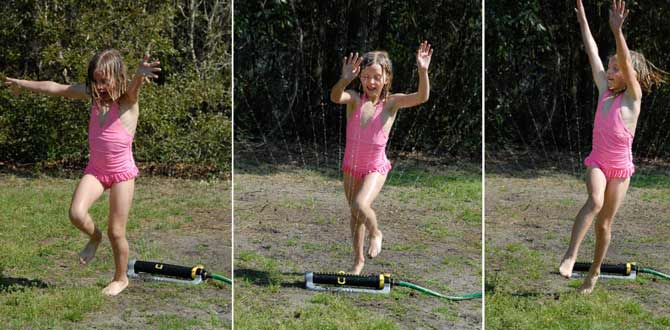 6 year old joy playing in summer sprinkler